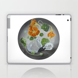 Stilllife with Tropaeolum majus, bird skull and a glass vase Laptop & iPad Skin