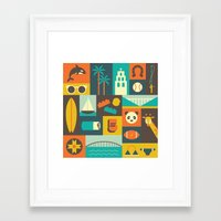 san diego Framed Art Prints featuring San Diego  by Ariel Wilson