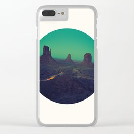 Mid Century Modern Round Circle Photo Graphic Design The Grand Canyon With Green Sunset Sky Clear iPhone Case