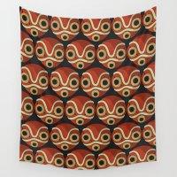 mononoke Wall Tapestries featuring Mononoke-hime Pattern by pkarnold + The Cult Print Shop