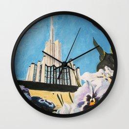 Atlanta Georgia LDS Temple Pansies Wall Clock