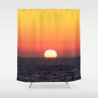santa monica Shower Curtains featuring Sunset over Santa Monica by emmacanfield