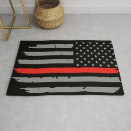 Red Line Firefighter American Flag Rug