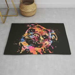 Pastel Paint Pug dog Rug