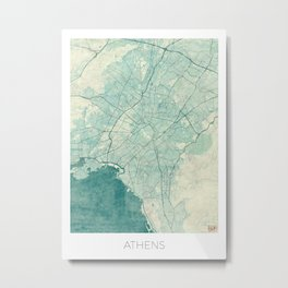 Athens Map Blue Vintage Metal Print