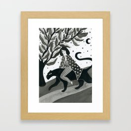 Casual walk with a panther Framed Art Print
