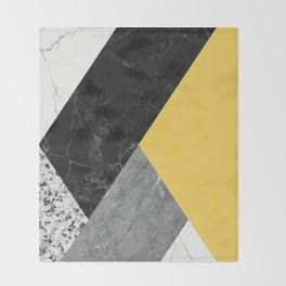 Black and White Marbles and Pantone Primrose Yellow Color Throw Blanket