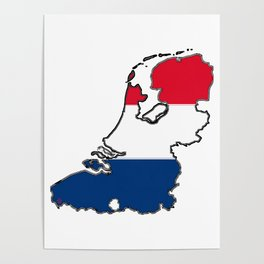 Netherlands Map with Dutch Flag Poster