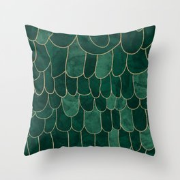 Stratosphere Emerald // Abstract Green Flowing Gradient Gold Foil Cloud Lining Water Color Decor Throw Pillow