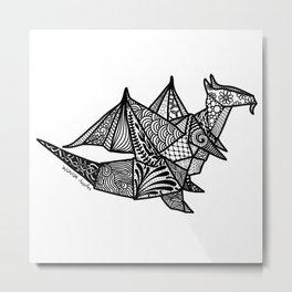 Dragon Origami Doodle Metal Print