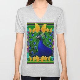 Green Wildlife Art Blue Peacock & Yellow Butterflies Unisex V-Neck