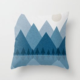 Calming Winter Abstract Geometric Mountains and Pine Trees with Reflections in Blue and Beige Tones Throw Pillow