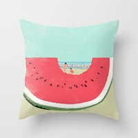 watermelon Throw Pillows featuring Watermelon by Tatsuro Kiuchi