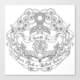 Anchor Tattoo Color Your Own Art Skilled Sailor Quote Canvas Print