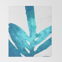 Ocean Blue Fern Throw Blanket