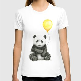 Panda Watercolor Animal with Yellow Balloon Nursery Baby Animals T-shirt