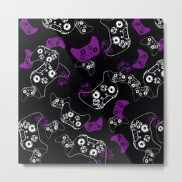Video Game Purple on Black Metal Print