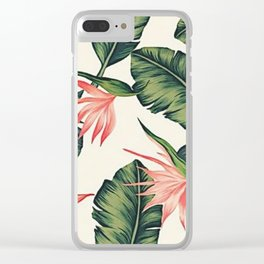 Palm Leaf & Flower Print Clear iPhone Case