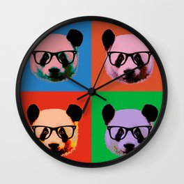 Panda with glasses in 4 Colors Wall Clock