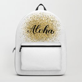 Aloha calligraphy lettering on gold glitter textured background. Backpack