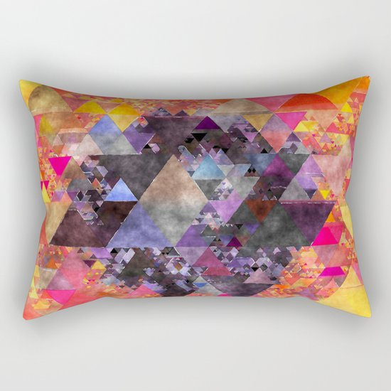 Fire red blue yellow  triangle pattern - Watercolor illustration Rectangular Pillow