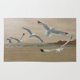 Seagulls Flying Along the Beachfront Rug