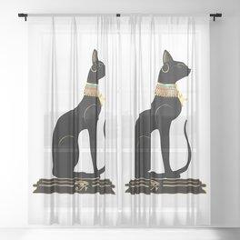 Egyptian Cat Sphynx Sheer Curtain