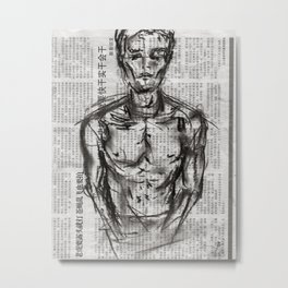 Strategy - Charcoal on Newspaper Figure Drawing Metal Print