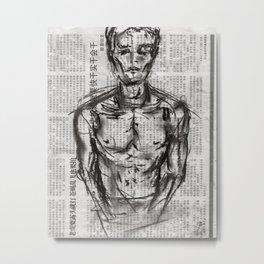 Strategy - Charcoal on Newspaper Figure Drawing Metal Print