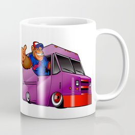 Cartoon illustration of a gorilla driving a van Coffee Mug