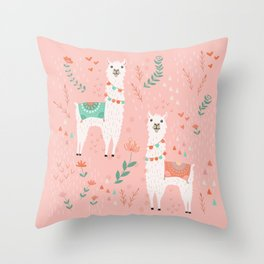 Lovely Llama on Pink Throw Pillow