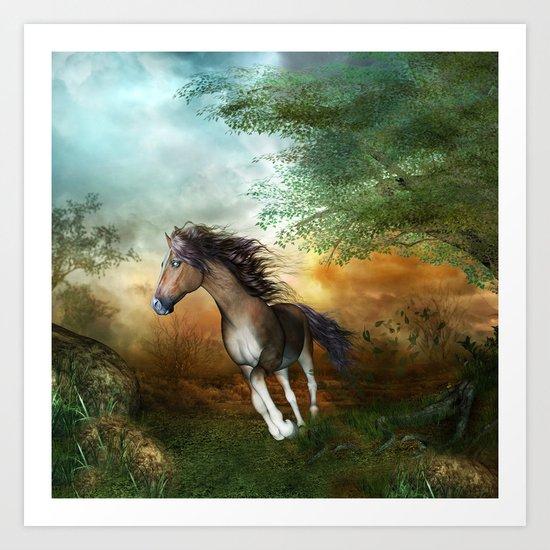 Beautiful brown horse Art Print