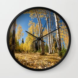 Crested Butte Colorado Fall Colors Panorama - 3 by OLena Art Wall Clock