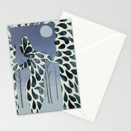 Abstract female night dreams floral woman's silhouette watercolor winter landscape sketchy art style Stationery Cards