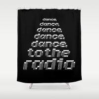 joy division Shower Curtains featuring Transmission - Joy Division by Werk Zerk
