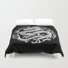 Traditional White and Black Chinese Dragon Circle Duvet Cover