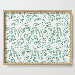 Turquoise cactus line drawing seamless pattern Serving Tray