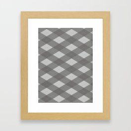 Pantone Pewter Gray Argyle Plaid Diamond Pattern Framed Art Print