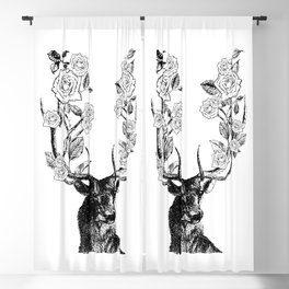 The Stag and Roses | Deer and Flowers | Vintage Stag | Vintage Deer | Antlers | Black and White | Blackout Curtain