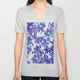 BLUE AND WHITE ROSE LEAF TOILE PATTERN Unisex V-Neck