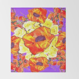 ABSTRACTED ORANGE POPPIES FLORAL LILAC YELLOW Throw Blanket
