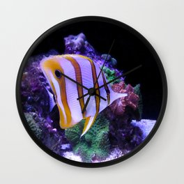 White and Yellow Butterfly Fish Wall Clock