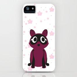 Tanuki & Sakura (maroon & pink) iPhone Case