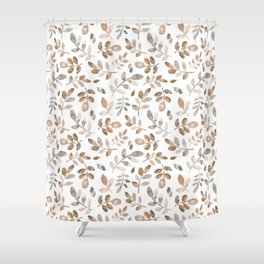 Watercolor brown fall autumn leaves floral Shower Curtain