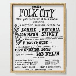 Vintage 1961 Bob Dylan Concert Billboard Poster Serving Tray
