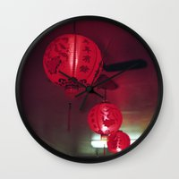 lanterns Wall Clocks featuring lanterns by rachel kelso