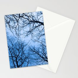 Naked trees tops, blue sky Stationery Cards