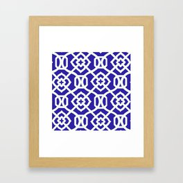 Moroccan Lattice~Navy & White Framed Art Print