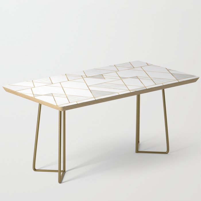 Mod Triangles Gold and white Coffee Table