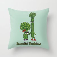 boyfriend Throw Pillows featuring Broccolini Boyfriend by khalan